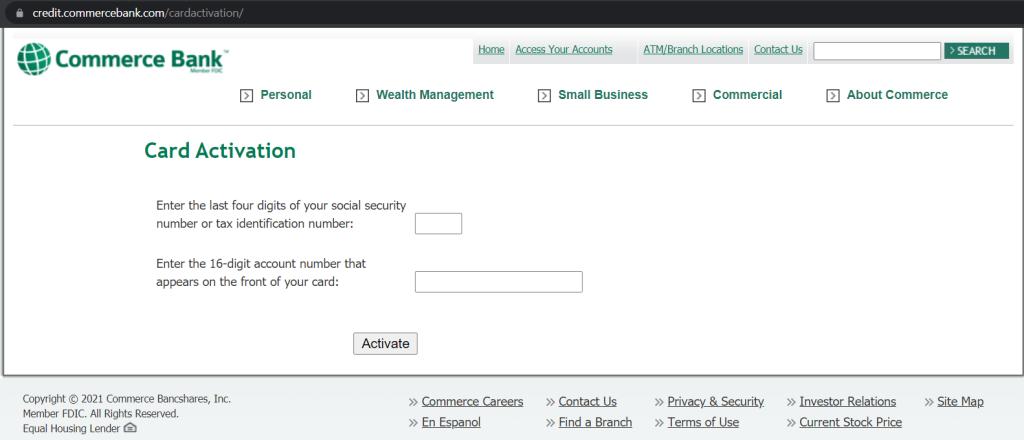 activate a Commerce Bank credit card via commercebank.com/activate